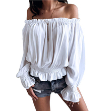 купить Womens Tops and Blouses 2019 Streetwear Off Shoulder Long Sleeve Shirts Feminina Lantern Sleeve Blouse Ladies Top Clothes D30 по цене 592.04 рублей