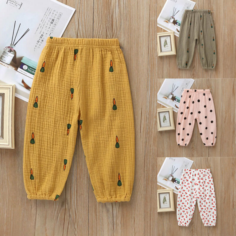 Kids Baby Clothing Pants Toddler Baby Boy Girl Long Pants Trousers Leggings Sweatpants Harem Bottoms Dot Cherry Print Pant