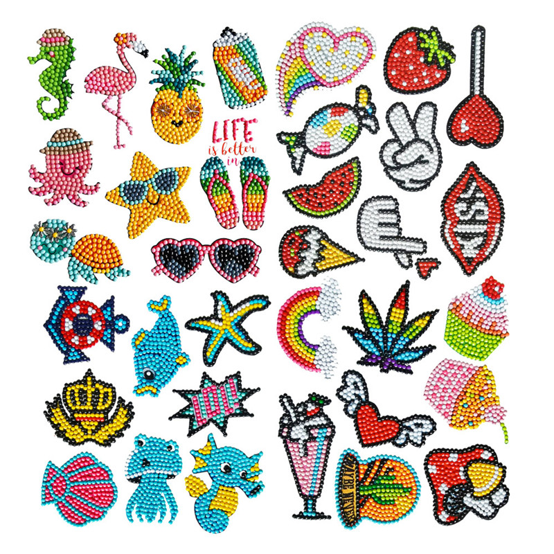 Diamond Painting Stickers Kids 5D DIY Art Craft Animal & Sea World Painting with Diamonds Paint by Numbers for Children