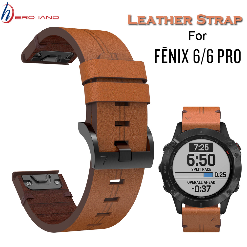 For Garmin Fenix 5/5Plus/6/Forerunner 935 945 Leather Watch Band Strap 22mm Quick Fit Smart Bracelet Wristband Replacement Strap