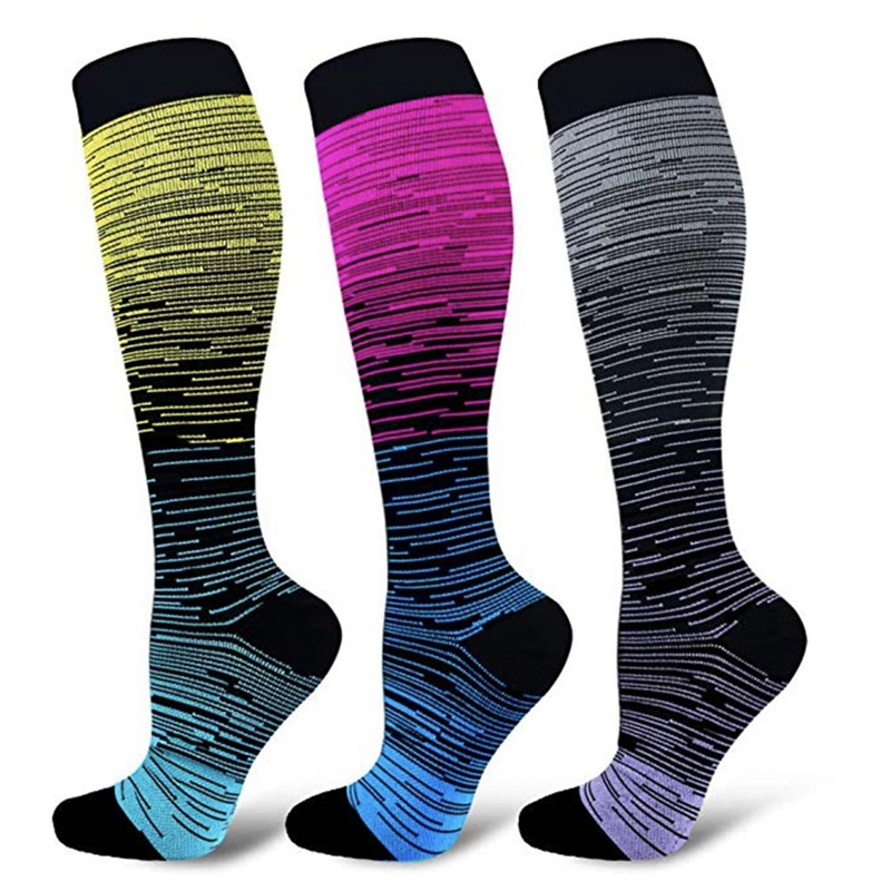 Unisex Leg Support Stretch Compression Socks Knee High/Long Gradient Socks Outdoor Sport Long Socks 3 Colors 2 Size