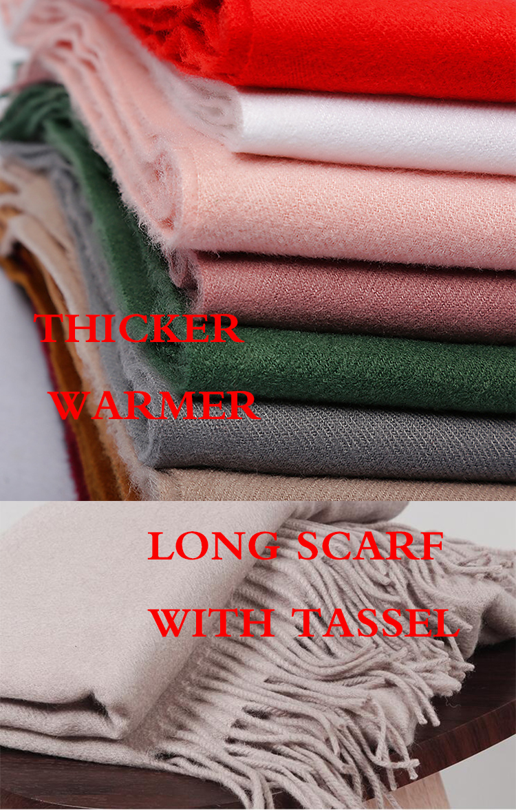 2020 Winter Scarf Solid Thicker Women Wool Cashmere Scarves Neck Head Warm Hijabs Pashmina Lady Shawls And Wraps Bandana Tassel