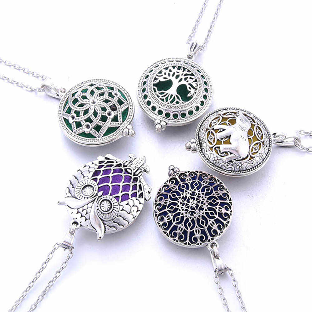 Fragrance Aromatherapy Locket Pendant Necklace Steampunk Essential Oil Diffuser