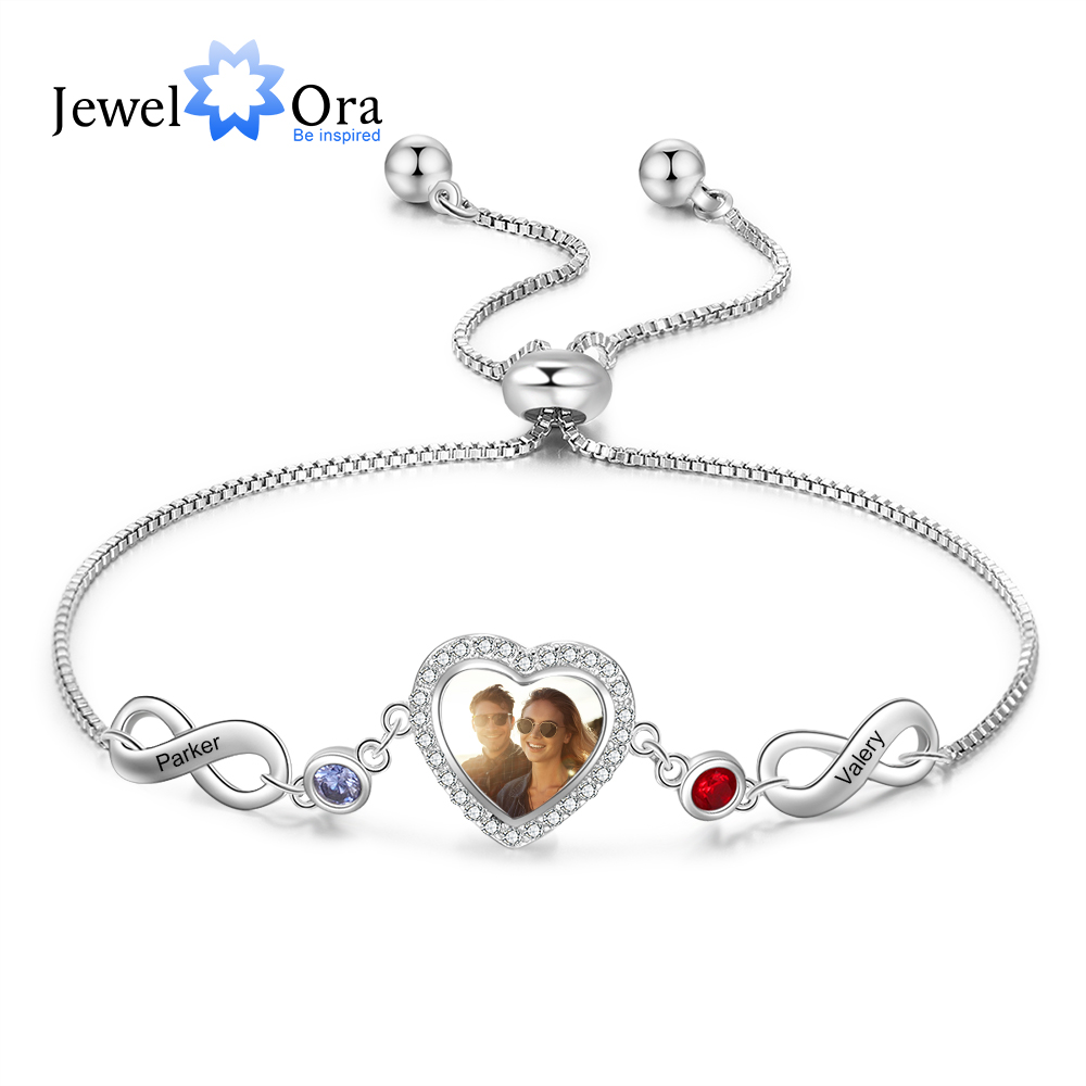JewelOra Personalized Custom Photo Bracelets with 2 Birthstones Adjustable Chain Engraved Name Infinity Bracelets for Women