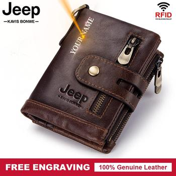 Free Engraving Classic Style Wallet Genuine Leather Men Wallets Short Male Purse Card Holder with Coin Chain Fashion Pocke