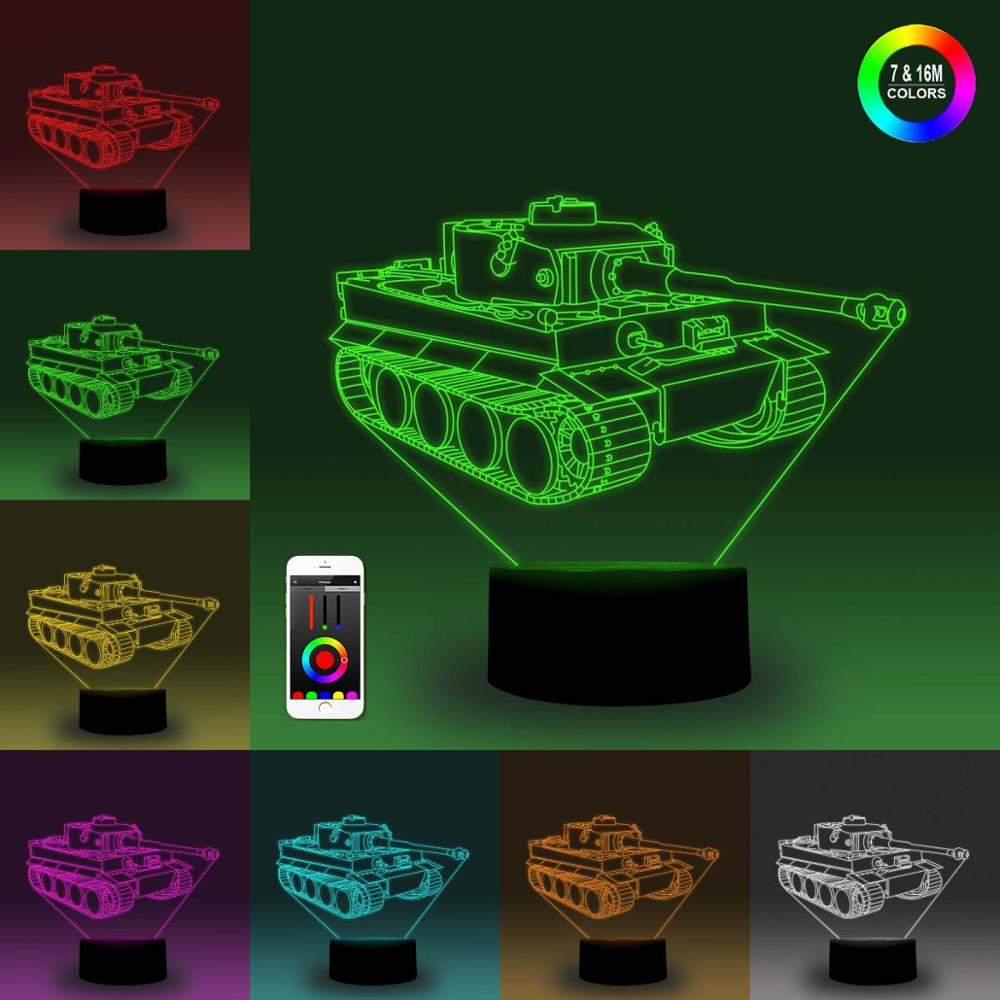 NiteApps 3D Tank Night Light Desk Table Illusion Decoration Lamp Holiday Birthday Gift APP/Touch Control