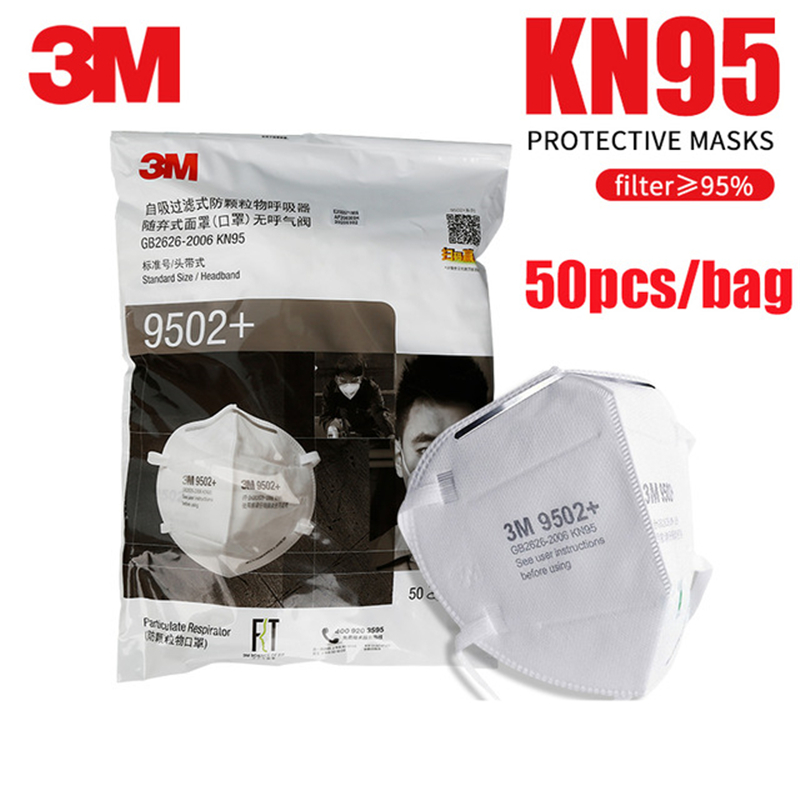 3M 9501+/9502+/9501V Respirator Face Masks Anti Haze Dust Organic Vapor Particle PM2.5 Protect Disposable Face Mouth Safety Mask