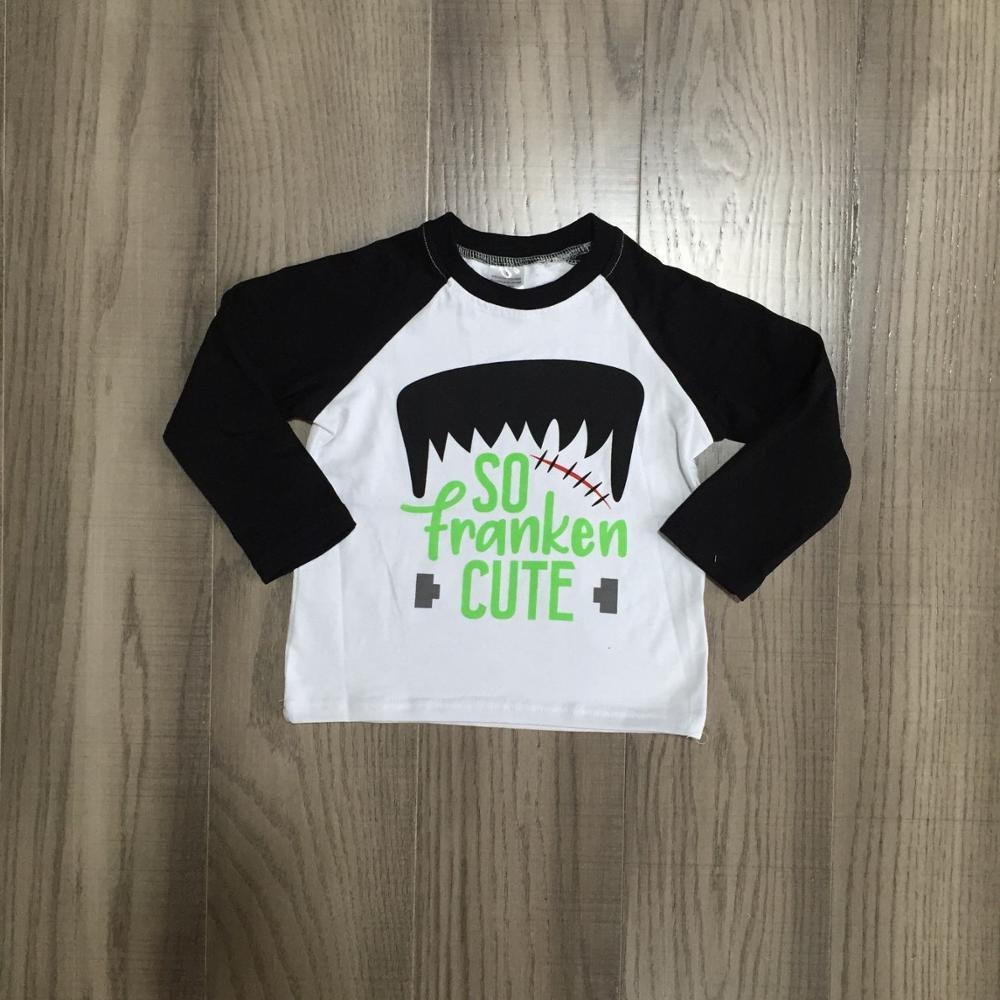 Girlymax fall Halloween baby boys boutique t-shirts clothes black so cute cotton top children raglans kids wear long sleeve 1