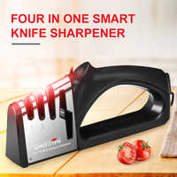 4 in1 Knife Sharpener Diamond Coated&Fine Rod Knife Shears and Scissors Sharpening System Stainless Steel Blades Kitchen Tools