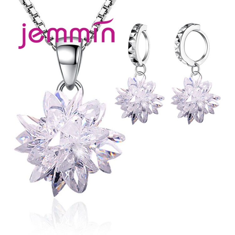 Ice Flower Cubic Zirconia Wedding Jewelry Sets Luxury Full Crystal Solid 925 Sterling Silver Bridal Gifts For Bridesmaids