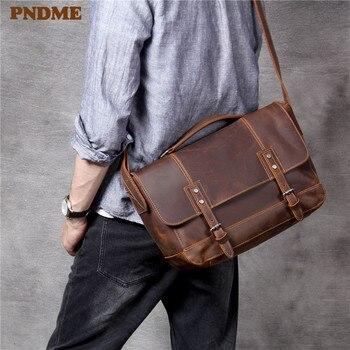 PNDME retro natural crazy horse cowhide mens womens briefcase handbags casual high-quality genuine leather A4 messenger bag