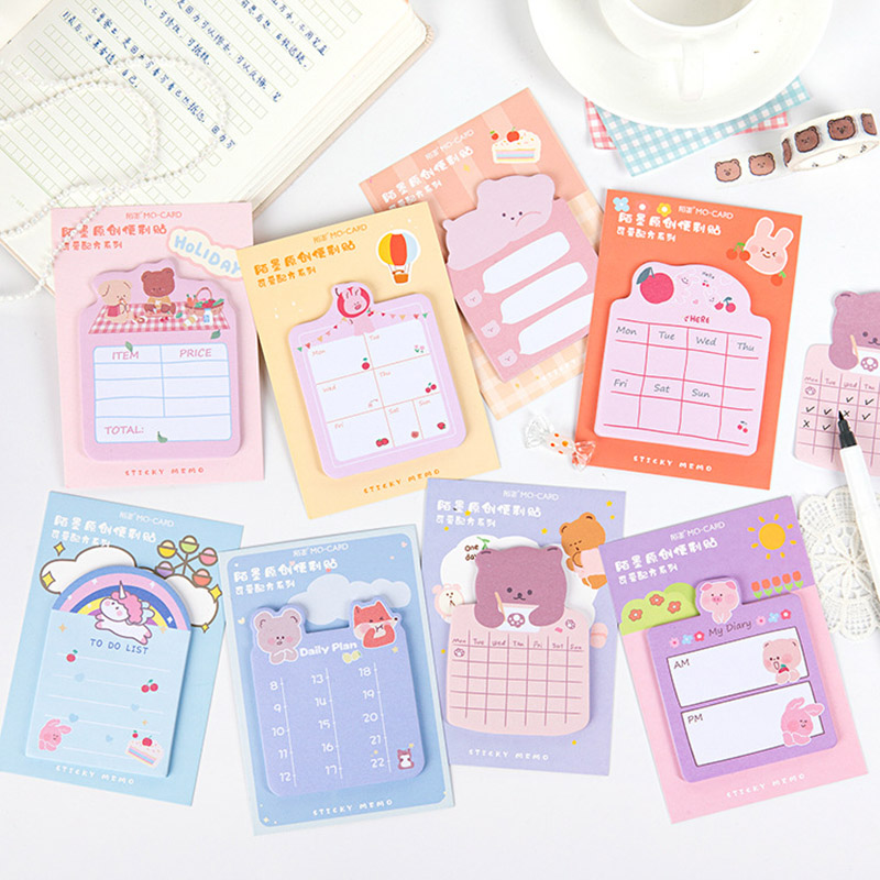 30Pcs Cute Tearable Animals Memo Pads Kawaii Message Notes Sticky Notes Writing Sticker For Kids DIY Stationery School Supplies