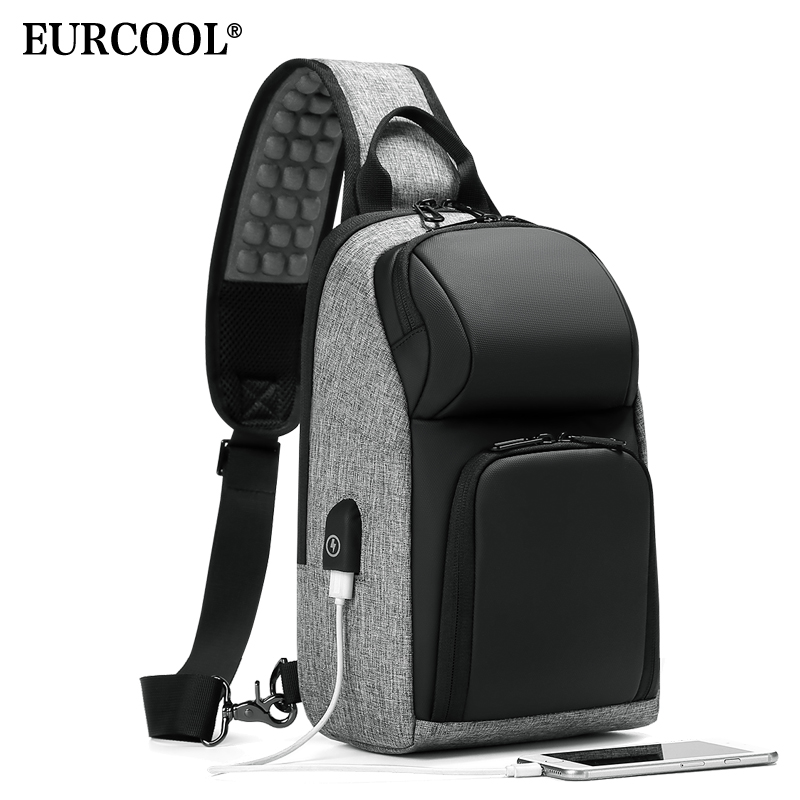 EURCOOL Casual Chest Bag For Men 9.7 Inch IPad Messenger Bags With USB Charging Port Shoulder Bag Male N1905