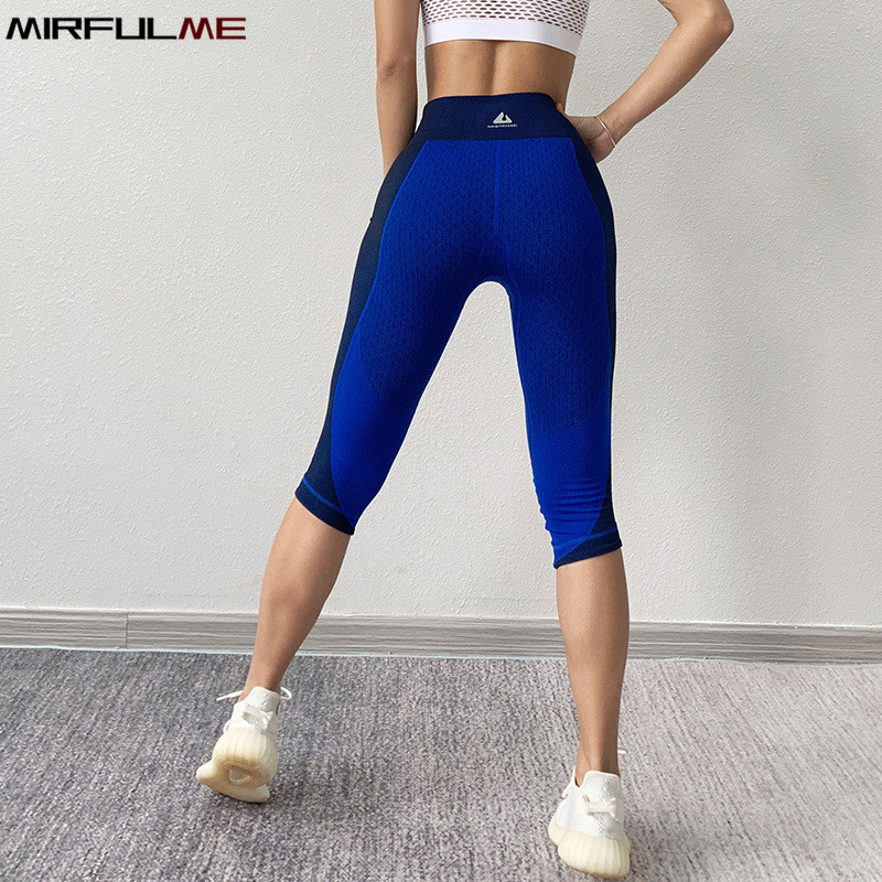 Women Yoga Pant Elastic Hit Color Seamless Sport Leggings Quick Dry Capris Running Trouser Woman Crop Leggins Gym Fitness Tights