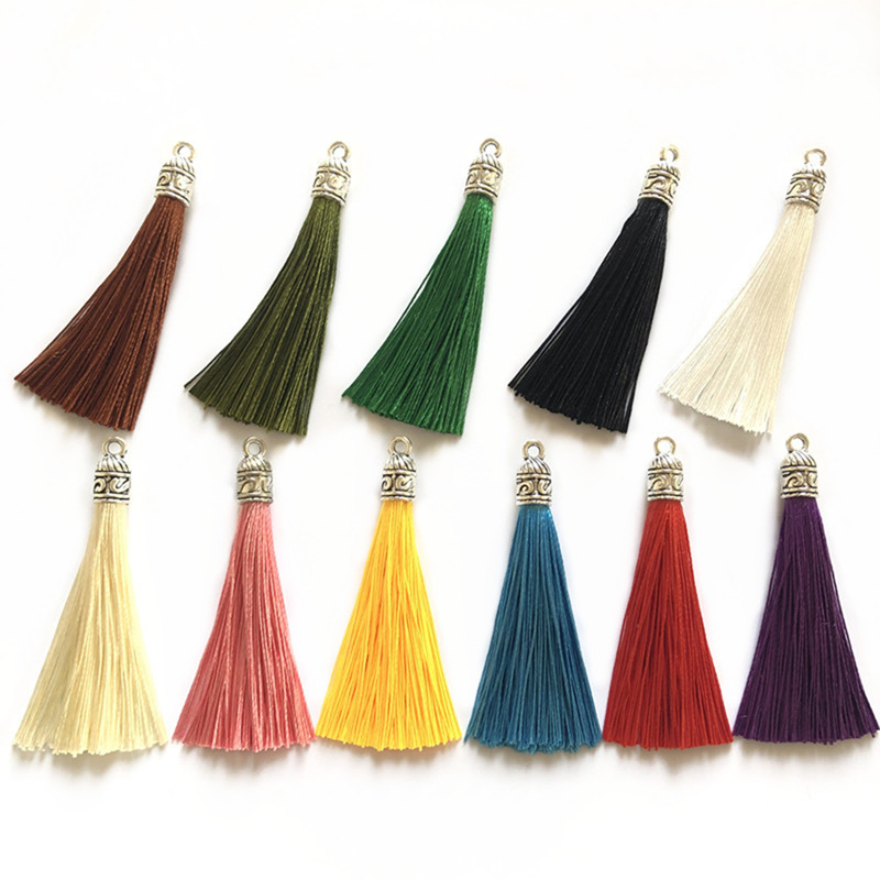 10Pcs/Lot 6cm Small Silk Tassels Charms Antique Silver End Caps Tassel For DIY Earring Garments Bag  Jewelry Making Accessories
