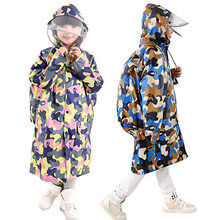New Camouflage Raincoat Kids Children Waterproof Thicken Raincoat With School Bag Cover Lightweight For Boy Girl Rain Cape(China)