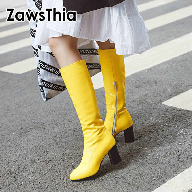 ZawsThia colorful green yellow red orange black knee high booties patent PU leather shinny block high heels female stretch boots