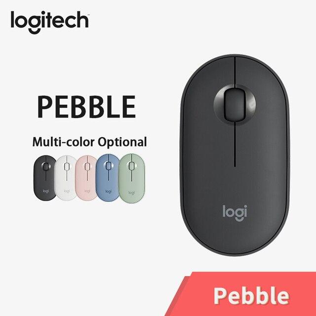 Logitech PEBBLE Bluetooth เงียบไร้สายบางและแบบพกพาโมเดิร์นเมาส์ 1000DPI 100G ความแม่นยำสูง OPTICAL