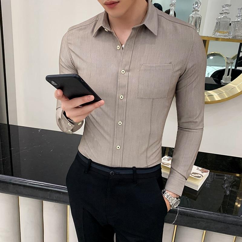 Brand Mens Dress Shirts Long Sleeve Casual Slim Fit Formal Social Shirt Mens Business Wedding Tuxedo Male Clothing Camisa