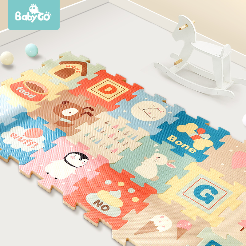 BabyGo 9pcs Baby Puzzle Play Mat XPE Foam Waterproof 82*82*2cm Thickened Children'S Crawling Pad Living Room Activity Floor Mat