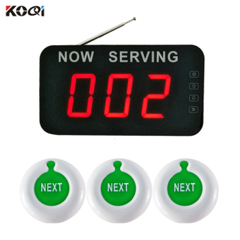 NOW SERVING queuing system call customer wireless calling system number waiting room 1 queue screen 3 NEXT pager button