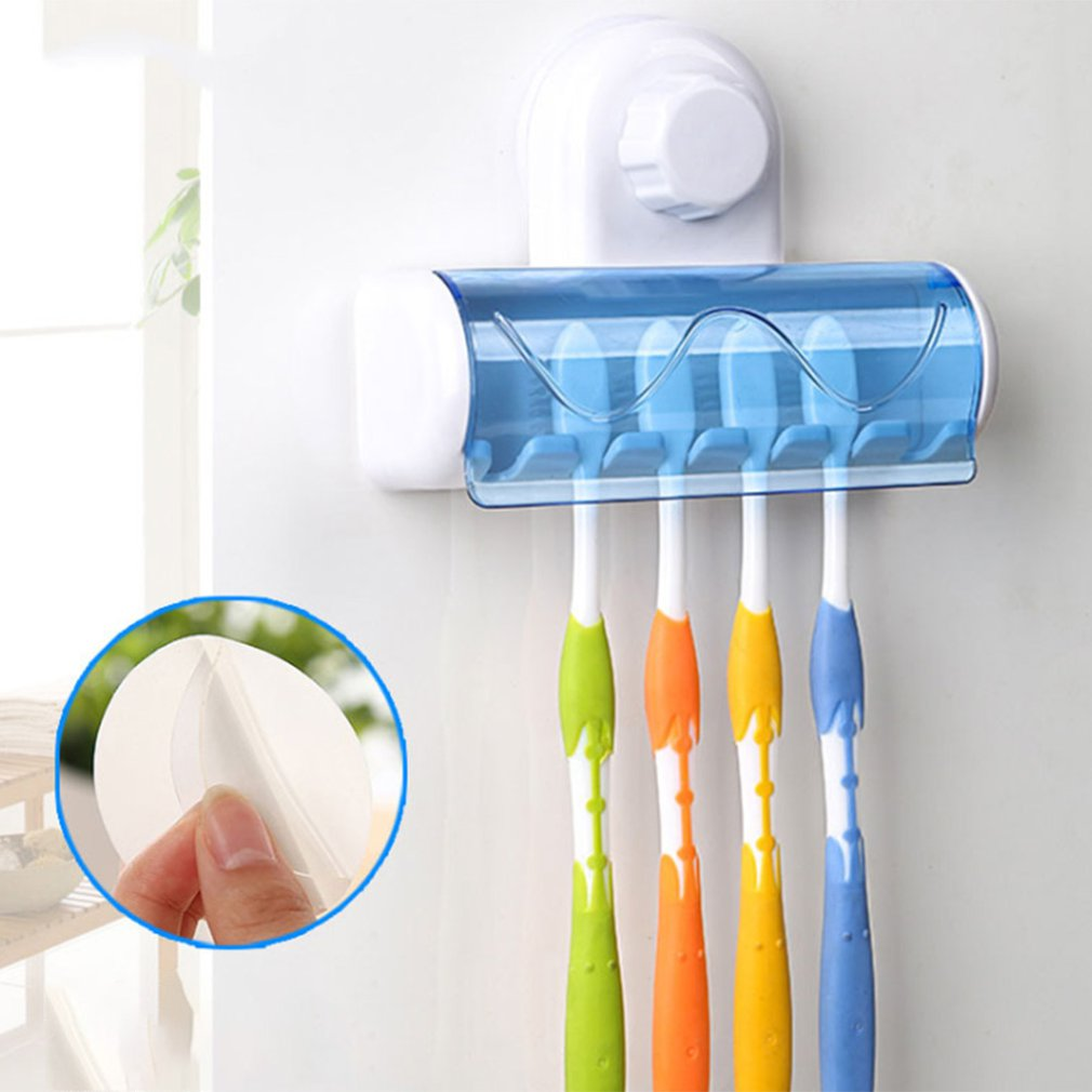 Creative 6 Hooks Bathroom Toothbrush Rack Stand Hooks Suction Cup Wall Mount Toothbrush Holders Dust Cover