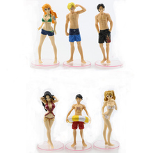4/6pcs Anime Cartoon Toys One Piece Luffy Zoro Tony Tony Chopper Sexy Swimsuit Action Figure Set PVC Collection Model Toys new 11cm one piece dowin anime figure figurezero luffy chopper zoro toycmodel with opp bag cheaper for sale