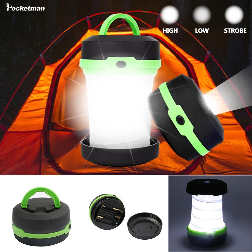 Led multifuncional dobrável telescópica luz de acampamento ao ar livre lanterna mini tenda luz emergência portátil bolso aa