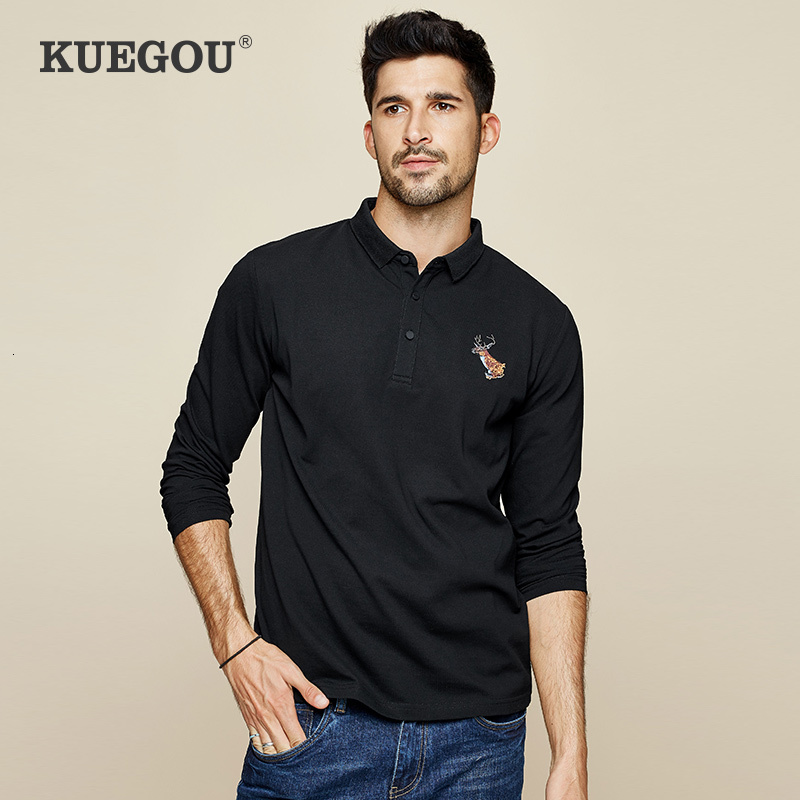KUEGOU 2019 Autumn Cotton Embroidery Black Polo Shirt Men Fashions Long Sleeve Slim Fit Poloshirt Male Clothes Brands Top 7704
