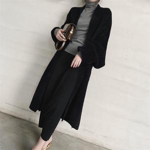 Image 2 - EWQ ocio linterna manga bufanda Collar abierto Stitch negro mujeres largo holgado de talla grande abrigos de lana 2020 otoño invierno nuevo TD385