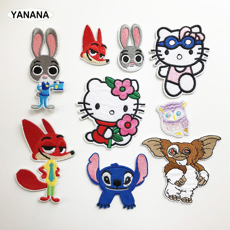 Fox Rabbit Kitty Owl cartoon Animal Embroidered Iron on stickers DIY individual personality Clothing