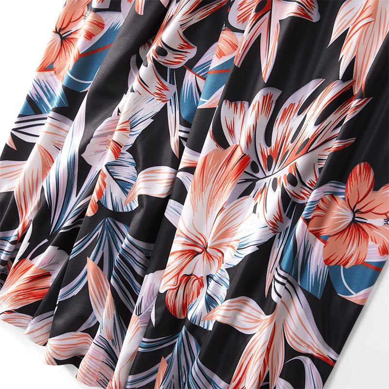 2021 Family Matching Maxi Dress Mom And Me Daughter Summer Patchwork Floral Long Dress For Women Clothes Mother Baby Girl Outfit 5