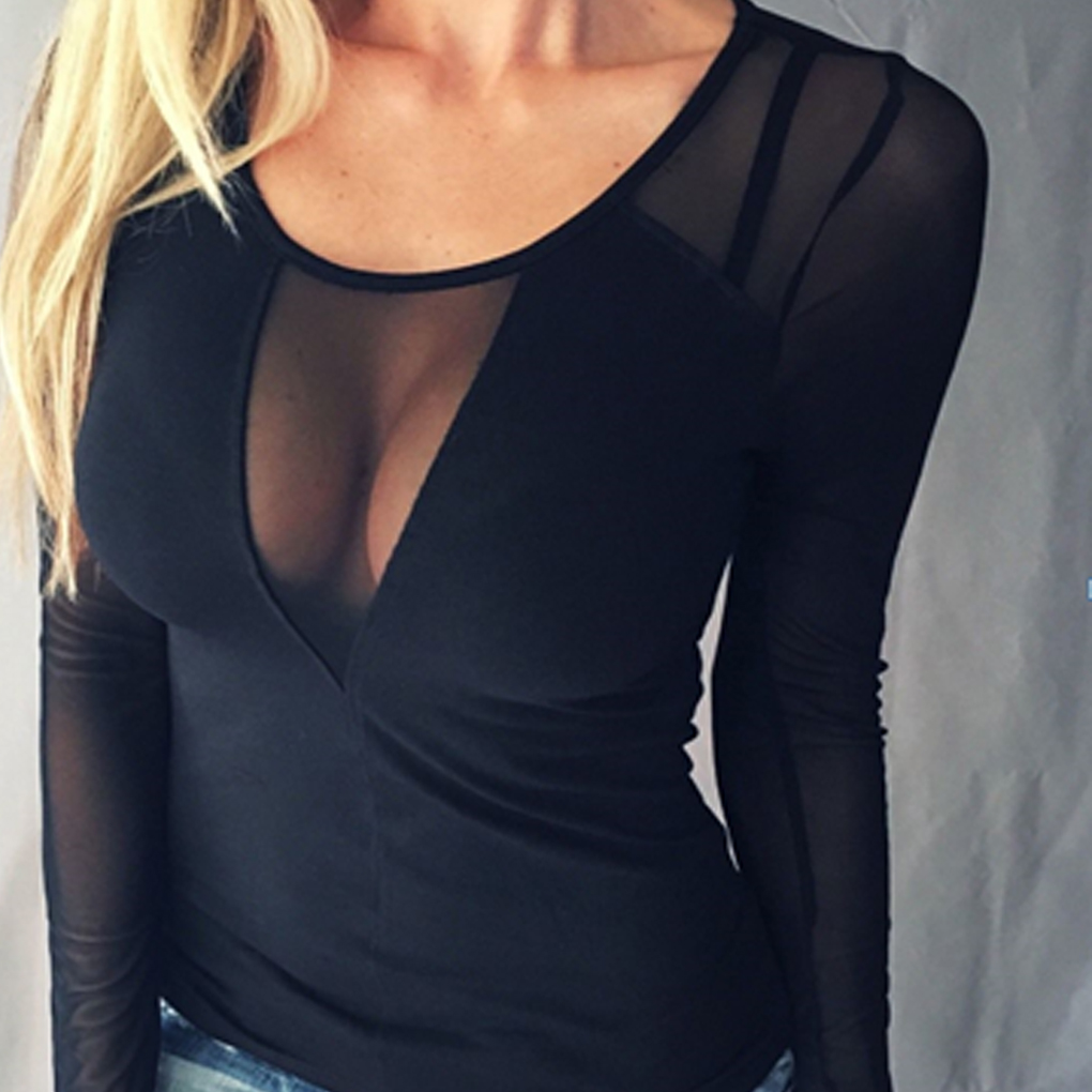 Women Sexy Black Mesh Sheer Patchwork Neck Clubwear Autumn Summer Top Blouse Pure Color Long Sleeve Tops Shirts