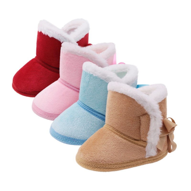 Autumn Winter New Baby Boys Girls Cotton Warm Solid Color Boots Various Styles Fashion Fur Snow High Quality First Walkers Boots