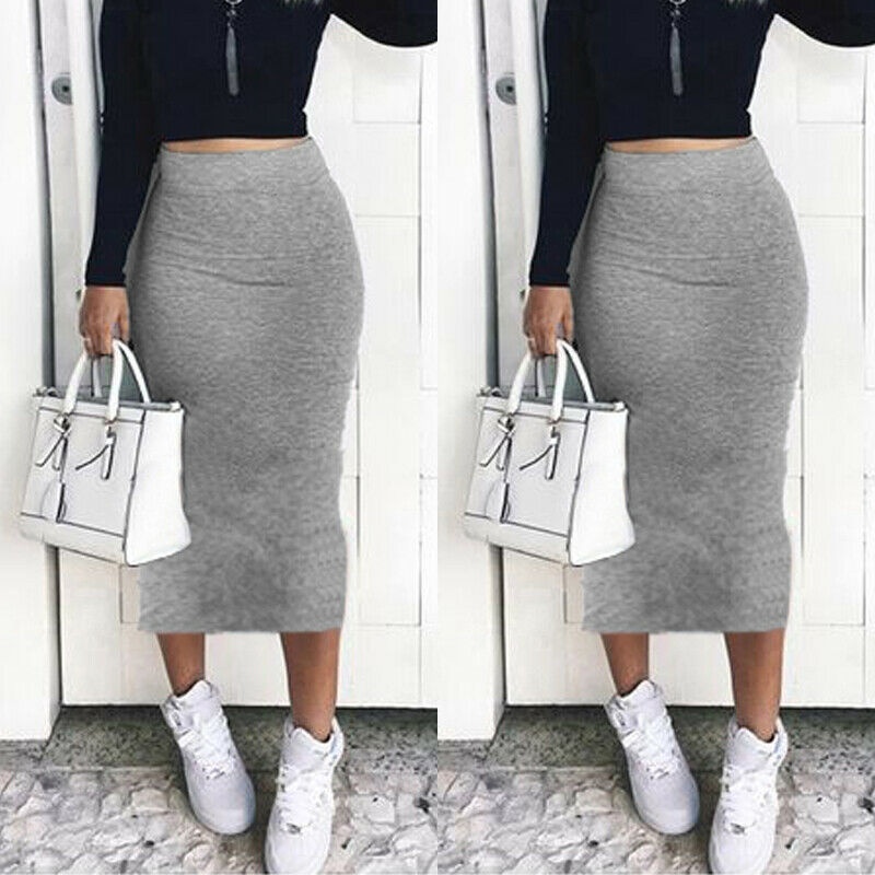New Stretch Bodycon Skirt Women's High Waist Mid-Calf Midi Fitted Work Office Ladies Skirts Wraped Hip Black Grey