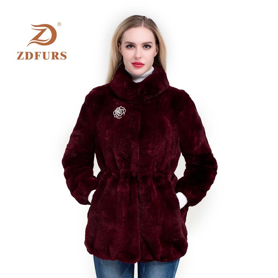 ZDFURS*real fur coat  High Quality Genuine Rex Rabbit Fur coat jacket with diamonds buttoon Natural Real Fur Coat Warm Lapel