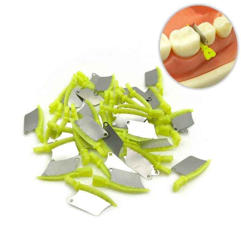 Nova faca de cunha dental dentes primários faca de cunha de plástico interproximal com matriz de aço inoxidável dental 40 pçs/caixa