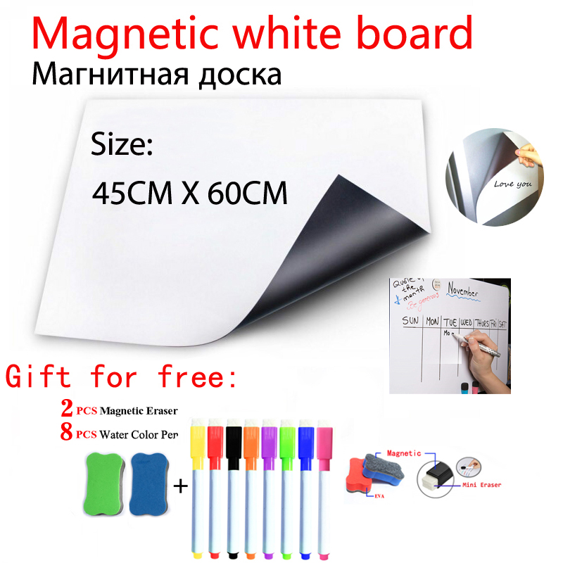 Magnetic WhiteBoard Fridge Magnets Dry-erase Calendar Kids School Board Memo White Board Size 45CMx60CM Gift 8 Pen And 2 Eraser