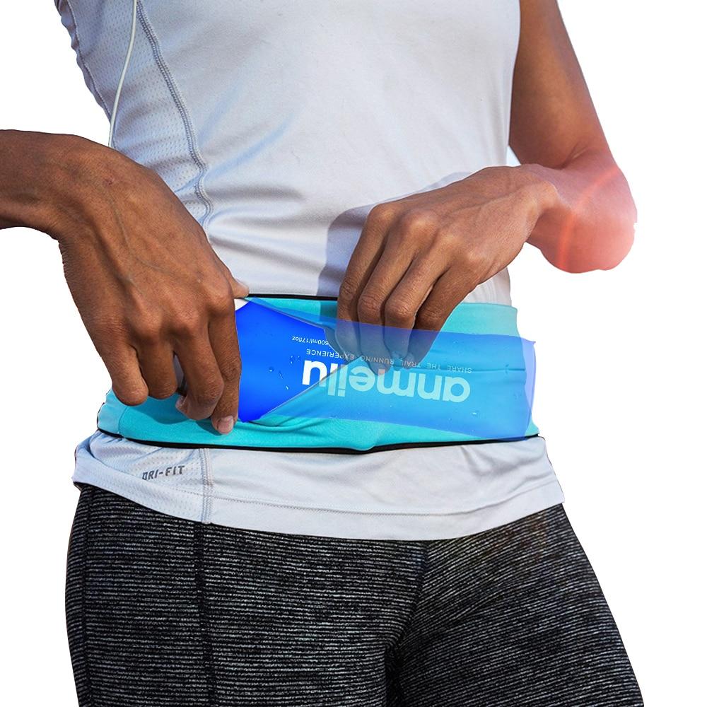 Men Running Waist Belt Jogging Bag Water Bottle Fanny Pack Travel Money Marathon Trail Gym Workout Fitness 6.5 In Phone Holder