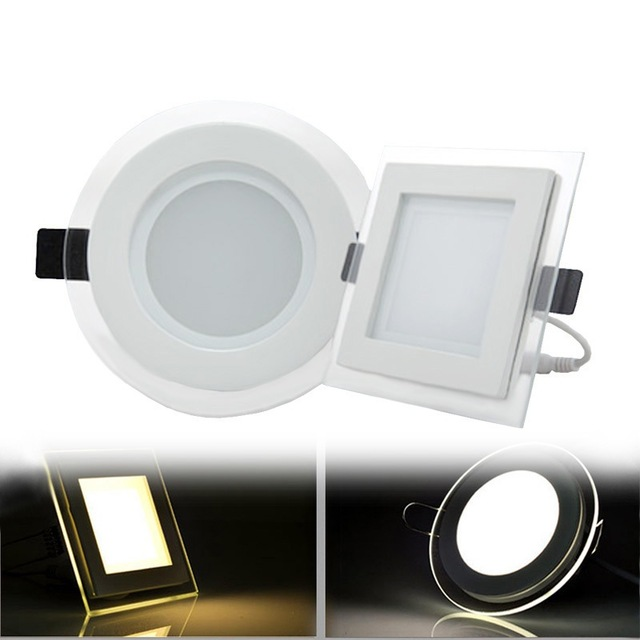 6W 9W 12W 18W Round/Square Glass LED Downlight Recessed LED Panel Light Spot Ceiling Down Light Warm/Natural/Cold White + Driver