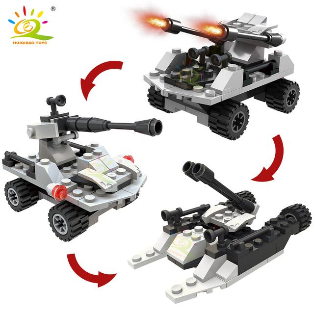 HUIQIBAO 506pcs 6in1 Army Marine Warship Building Blocks Military set plane tank Aircraft Bricks city Construction children Toys