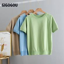 GIGOGOU-Camiseta lisa para mujer, ropa de manga corta de estilo coreano, Camiseta básica ajustada de algodón, Top para mujer, ropa para mujer, camiseta para mujer
