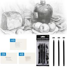 Professional 3Pcs HB 2B 4B Woodless Graphite Pencils Drawing Set Sketch Charcoal Pencils For School Painting Tool Art Supplies 32pcs professional drawing artist kit pencils sketch charcoal art craft with carrying bag tools