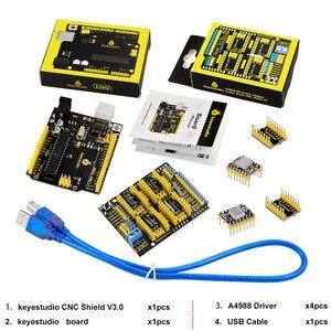 Image 5 - Gratis Verzending! Keyestudio Cnc Kit Voor Arduino Cnc Shield V3 + Uno R3 + 4 Stuks A4988 Driver/Grbl Compatibel