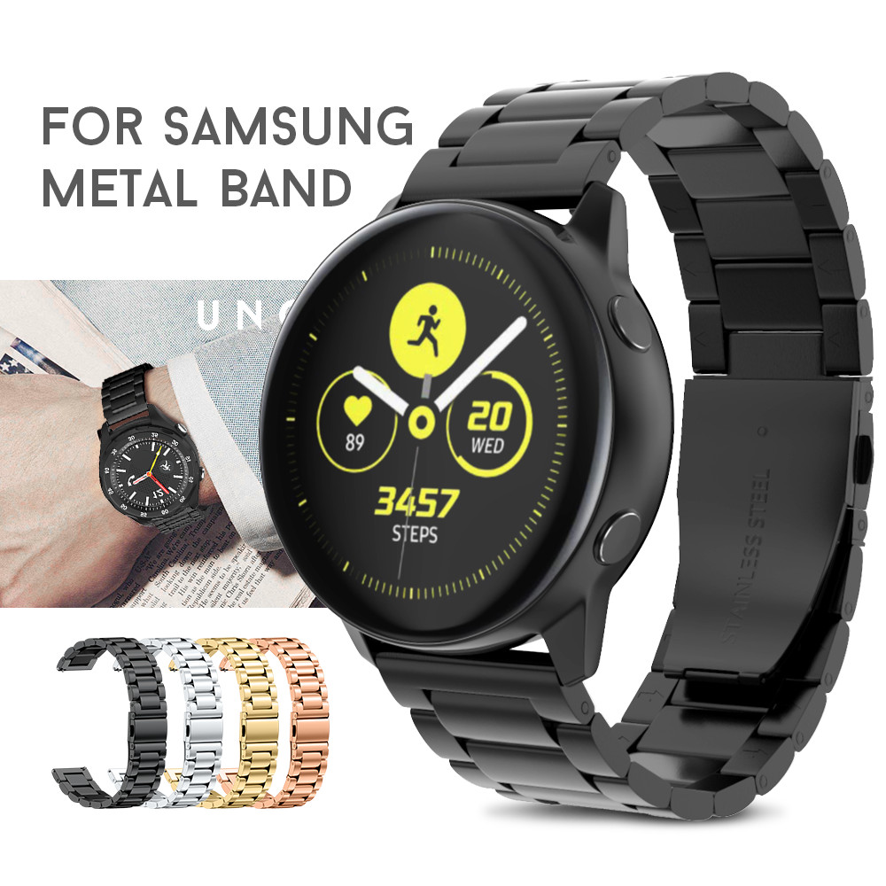 Stainless Steel Watch Band For Samsung Galaxy Watch Active 2 Strap 42mm Gear S2 Metal Bracelet Wristband Fit Gear Sport Watches
