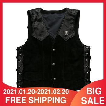2021 Black Motorcycle Style Genuine Leather Vest Men Single Breasted Plus Size 5XL Real Thick Cowhide Spring Slim Fit Biker Coat image