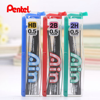 Pentel C255 Ain Hi-Polymer 0.5 mm refill leads for mechanical pencil super hard pencil refills Japan 2H,HB ,2B image