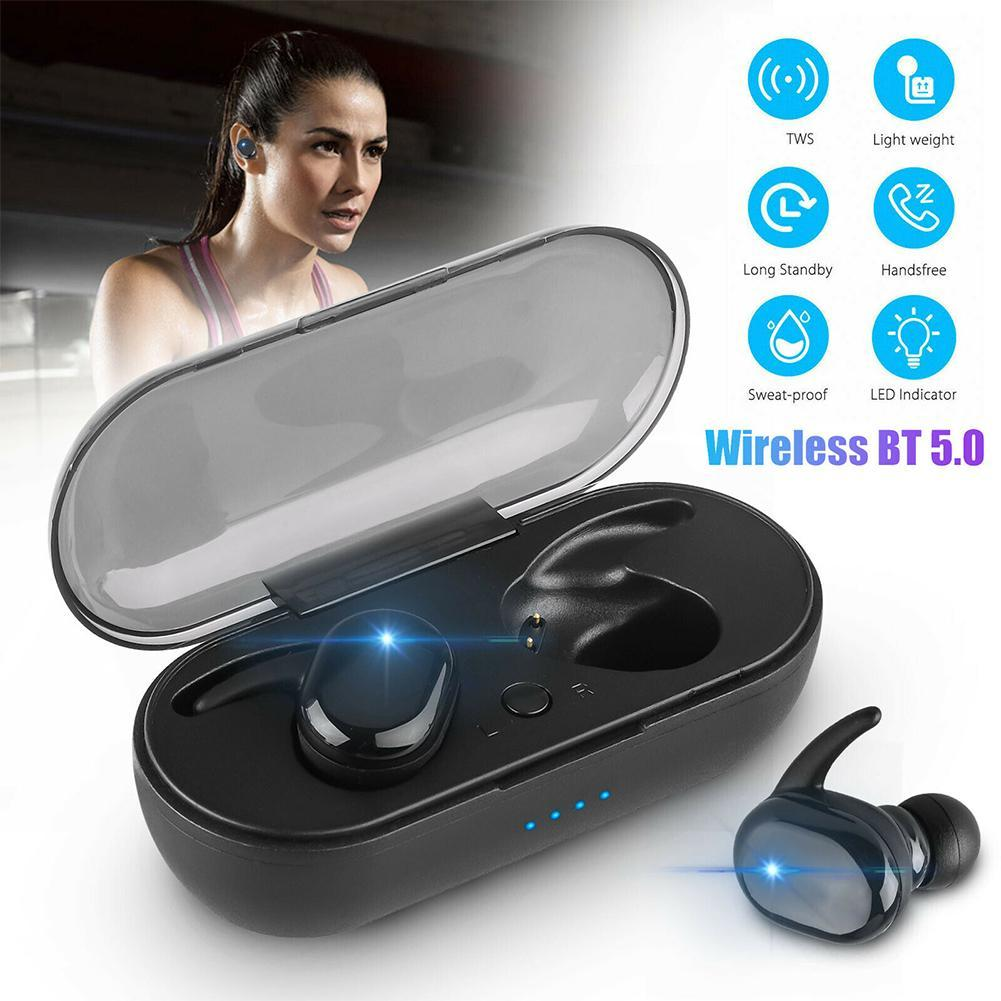 Wireless Earphones Sports Earphone 3D Stereo Sound Earbud with Portable Mic and Charging box 2019 TWS Headphones Bluetooth 5.0