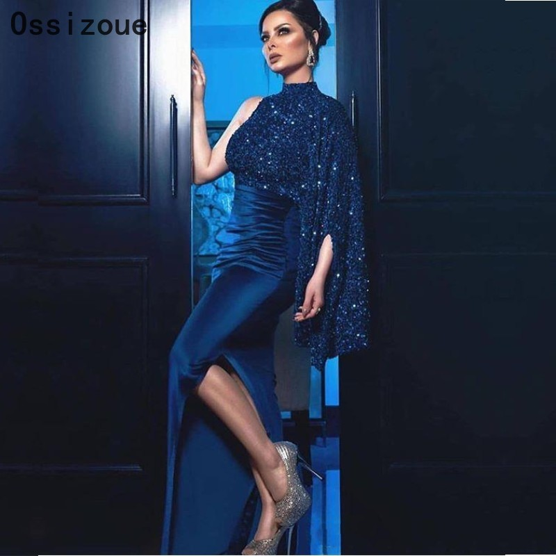 Mermaid Long Formal Evening Dresses One Shoulder Long Sleeves Blue Formal Lady Evening Dress Side Slit YSAN451