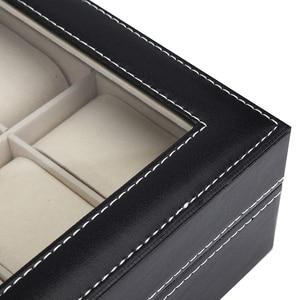 Image 4 - 10 12 Slot Watch Box Storage Watch Box PU Leather Watches Display Case Jewelry Boxes Watches Organizer Glass Top Watch Holder